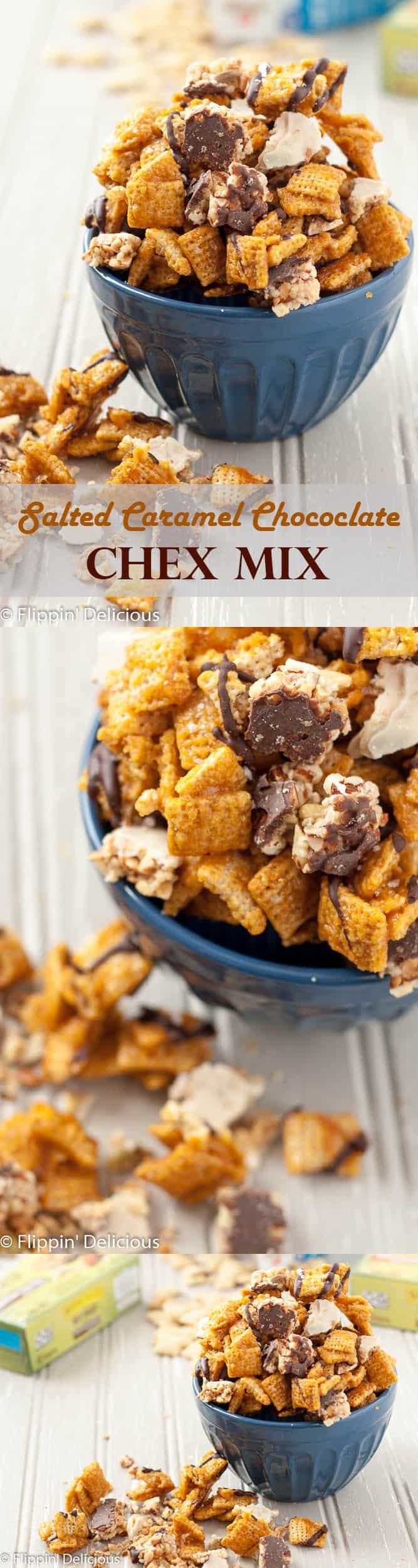 This Salted Caramel Chocolate Chex Mix makes the perfect indulgent late night snack, and it is naturally gluten-free! (Dairy-free option too.)
