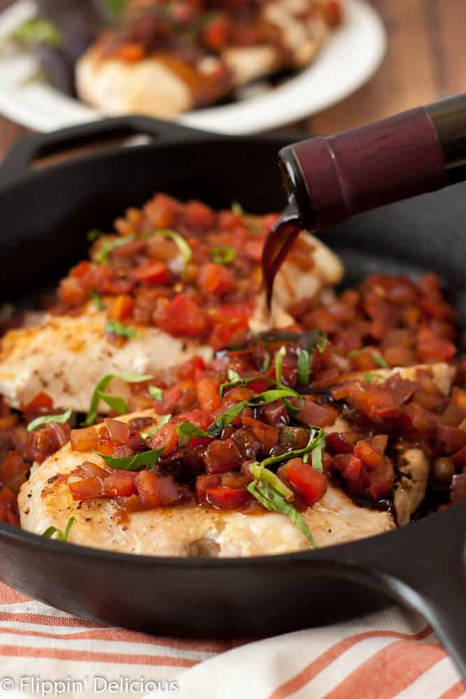This Bruschetta Chicken Skillet combines all of the flavors of fresh roma tomatoes, sweet red onions, and syrupy balsamic vinegar in an easy naturally gluten free and dairy free weeknight meal.