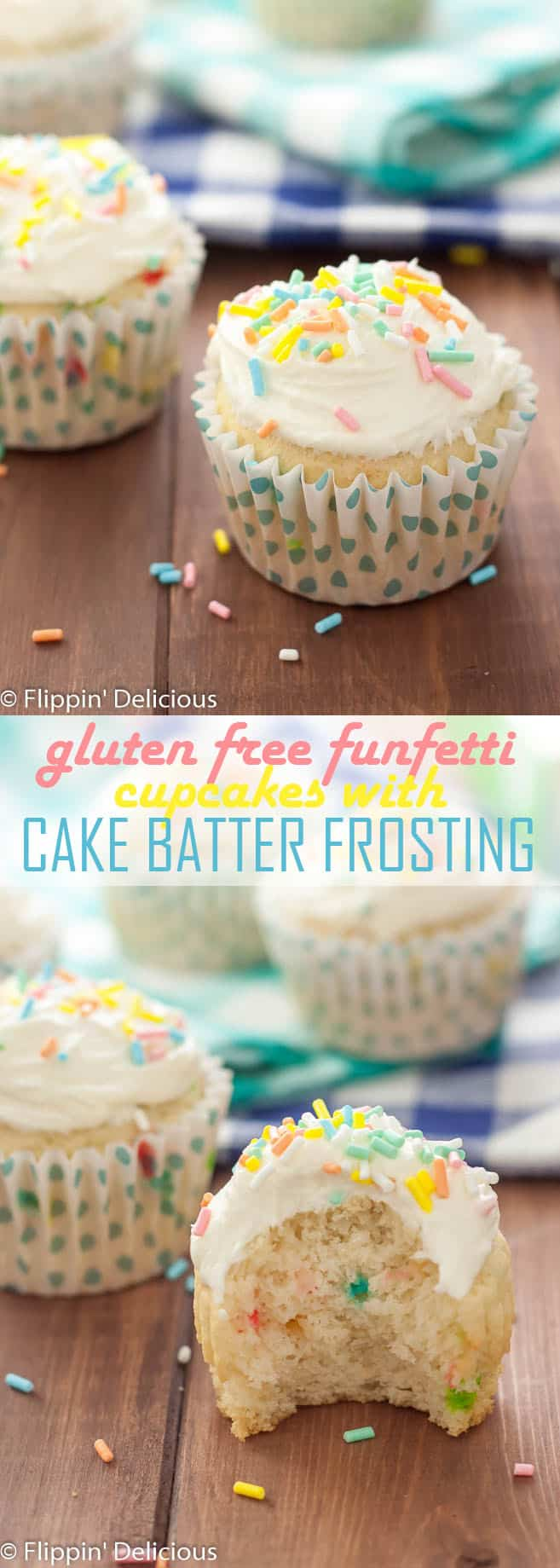 Celebrate with these easy Gluten Free Funfetti Cupcakes with GF Cake Batter Frosting!