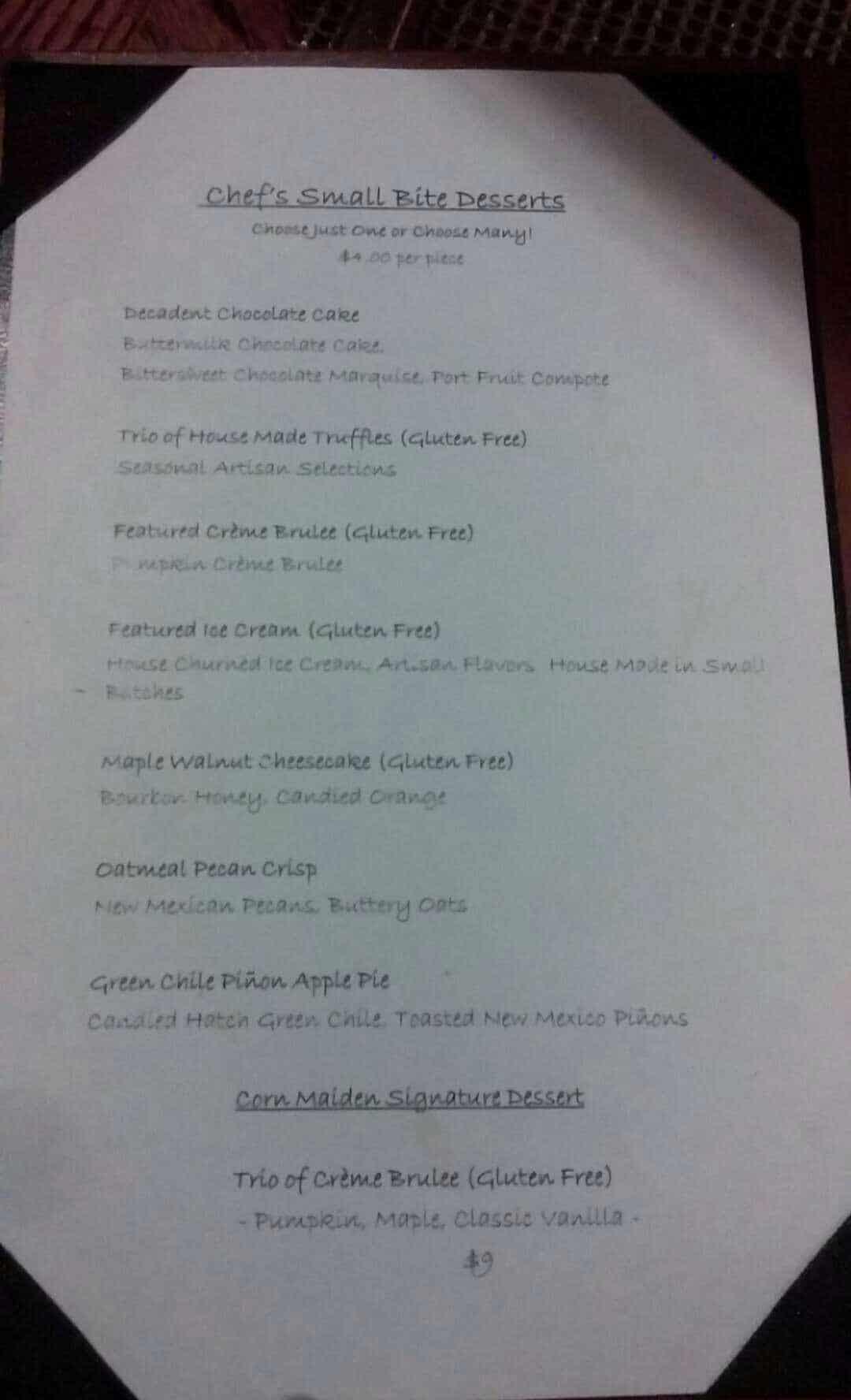 corn maiden dessert menu