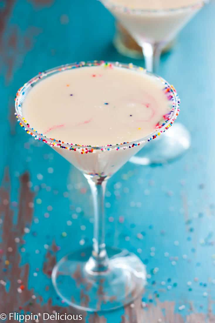 Dairy Free Funfetti Martinis... no one has to skip these because of allergies. A sweet and creamy cocktail with lots of sprinkles!