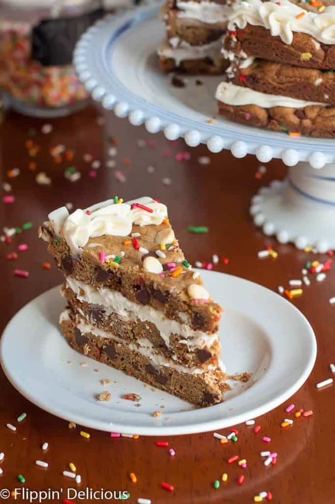 A Gluten Free Cookie Cake is the perfect dessert for when you can't decide what dessert to make. This way, you can have your cake, and eat it too.