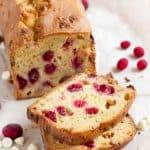 Gluten Free Cranberry Bread with Orange, White Chocolate, and Hazelnuts