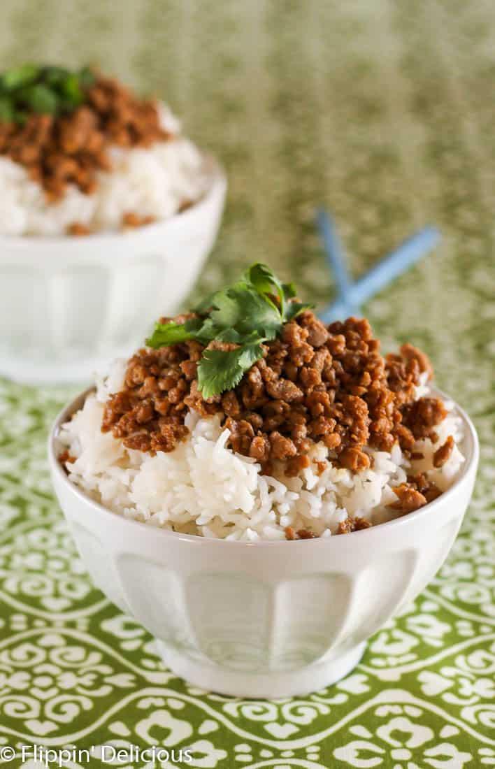 Gluten Free Korean Ground Turkey and Rice Bowl