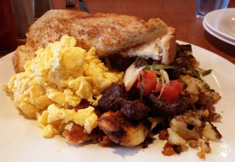 The Mission gluten free menu mission beach san diego Hanger steak hash and eggs