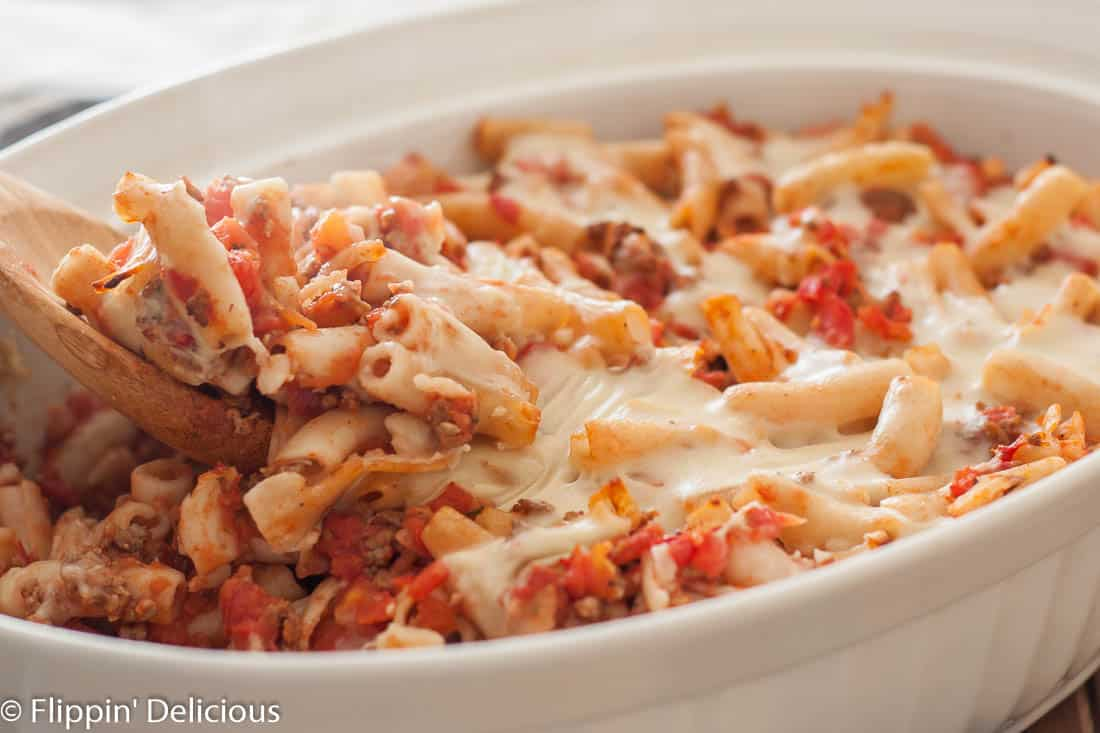 This dairy free gluten free baked ziti is an easy casserole the whole family can enjoy!