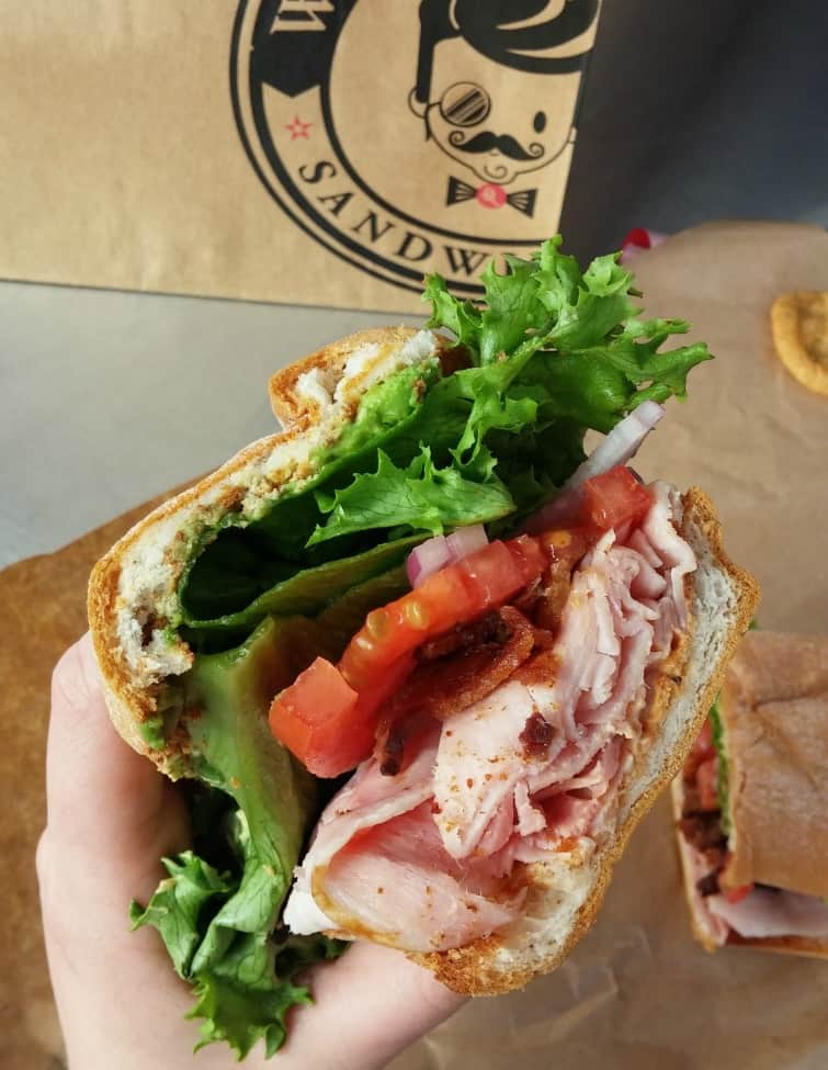 mission beach san diego gluten free rubicon deli hogs breath sandwich on Udi's gluten free french bread