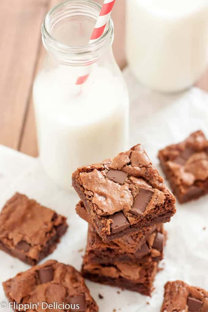 These gluten free chewy dark chocolate brownies have a rich chocolate flavor, and super chewy edges. No cocoa here, just smooth melted chocolate. They are easily made dairy free too!