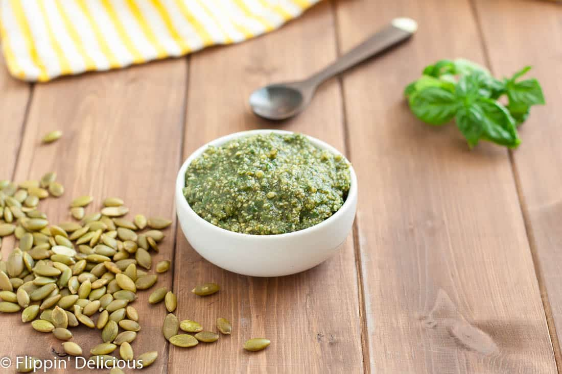 Gluten free pasta salad with pumpkin seed pesto is the perfect summer side! Bonus: the pesto is dairy free too.