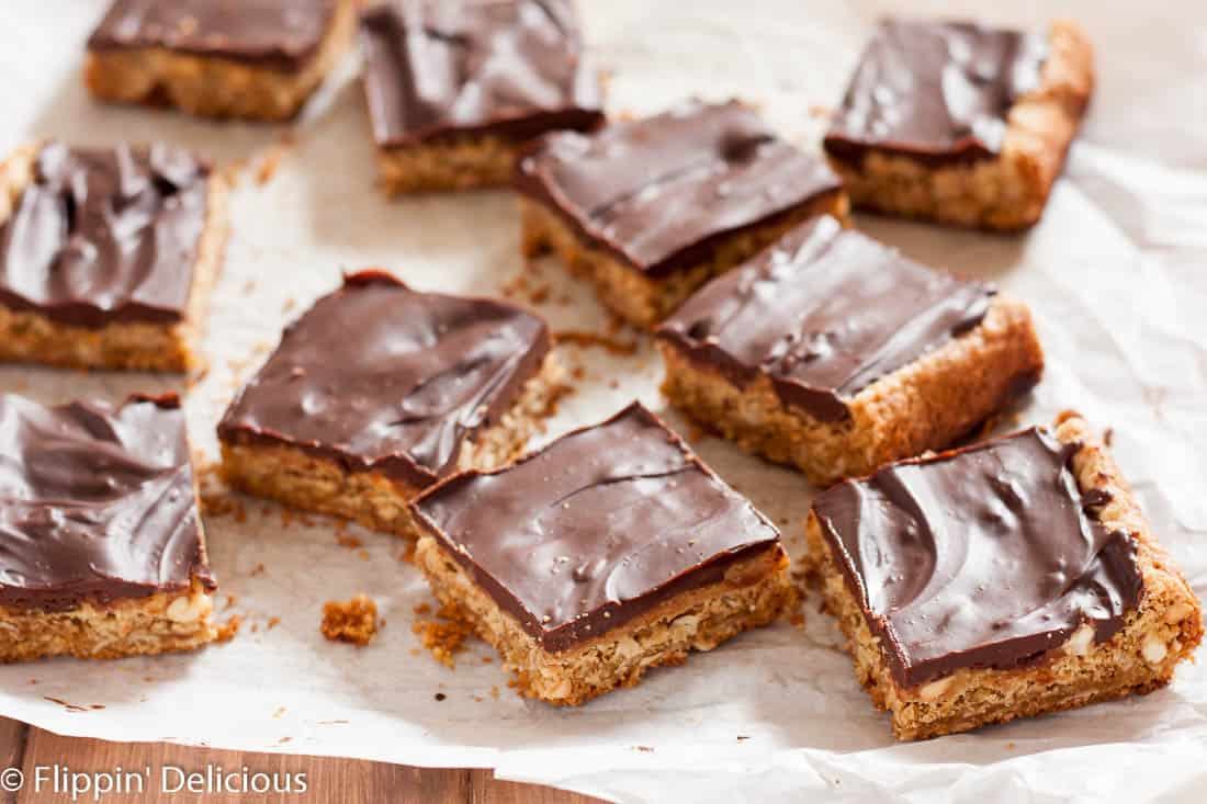 Chewy Gluten Free Peanut Butter Bars with chocolate ganache (dairy free) are the perfect afternoon treat! Also known as lunch lady peanut butter bars, I love the extra layer of peanut butter frosting!