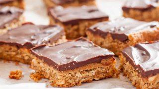 Gluten Free Peanut Butter Bars with chocolate ganache (dairy free)