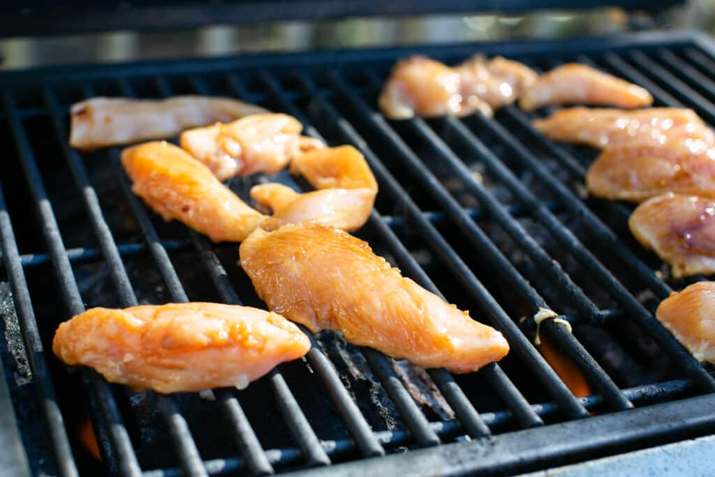 grill with gluten free teriyaki chicken cooking