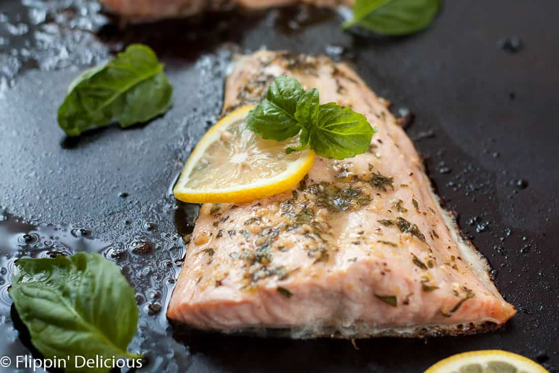Lemon Basil Salmon is perfect for date night, dinner with friends, or even for your fish-loving kids! It goes perfectly with a toasted gluten free baguette.
