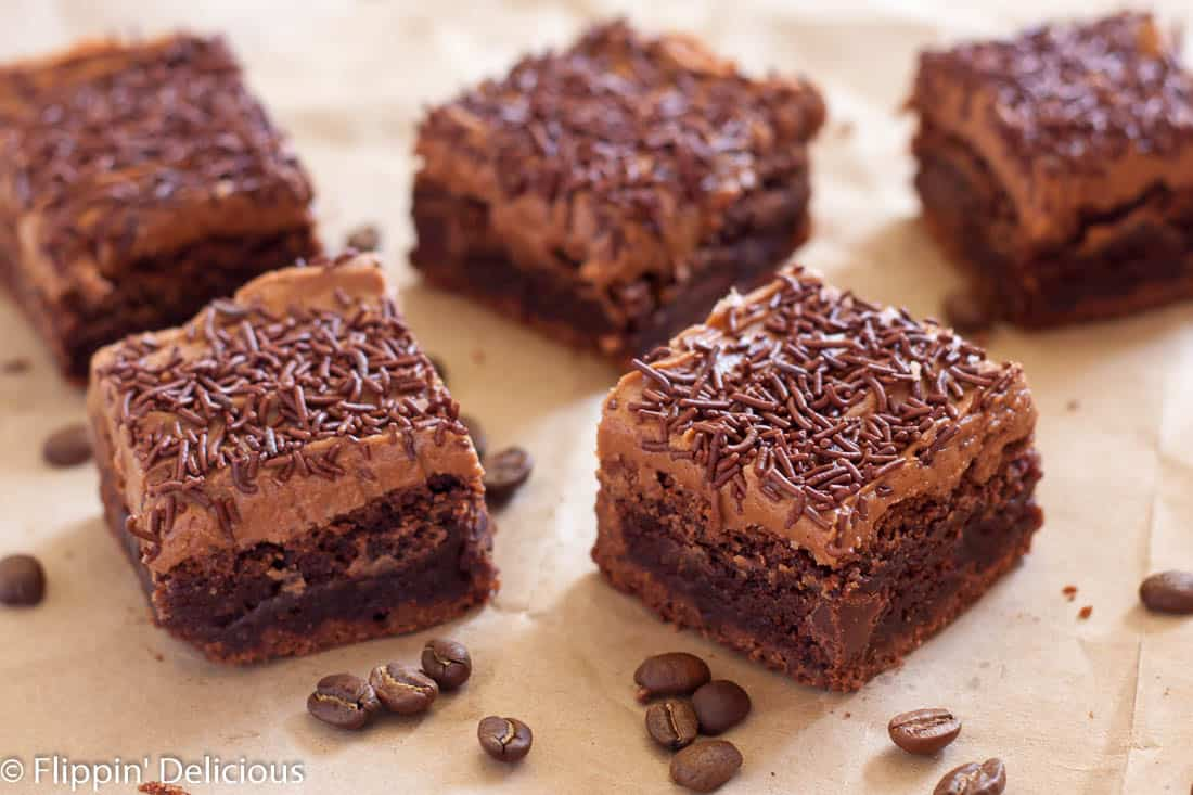 Gluten Free Coffee Brownies with dairy free espresso frosting make the perfect pick-me-up treat!