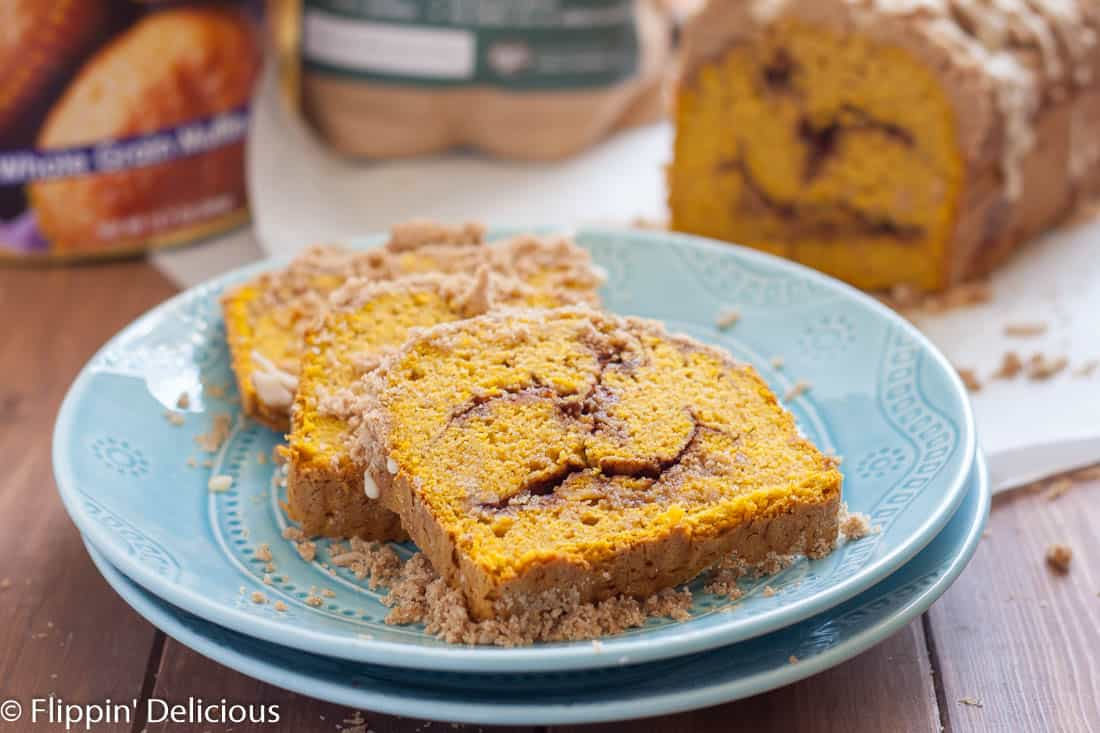 Gluten Free Pumpkin Cinnamon Swirl Bread with cinnamon streusel topping is surprisingly easy to make. Wow your family at brunch! (dairy free option)