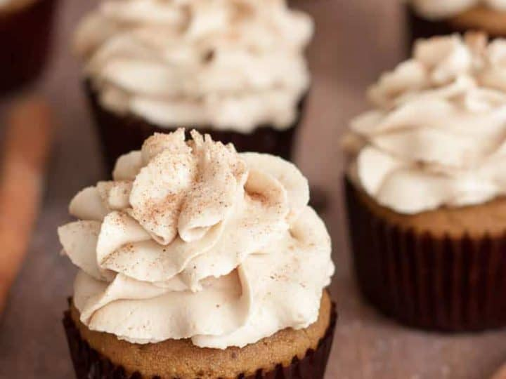 Gluten Free Pumpkin Spice Latte Cupcakes with Coffee Frosting {Dairy Free}