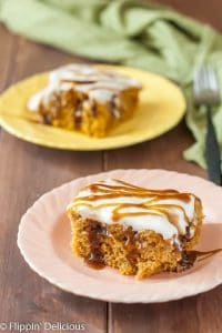 Gluten Free Butterbeer Cake inspired by Harry Potter! Gluten free pumpkin poke cake filled with butterscotch and frosted with dairy free cream cheese frosting or whipped cream.