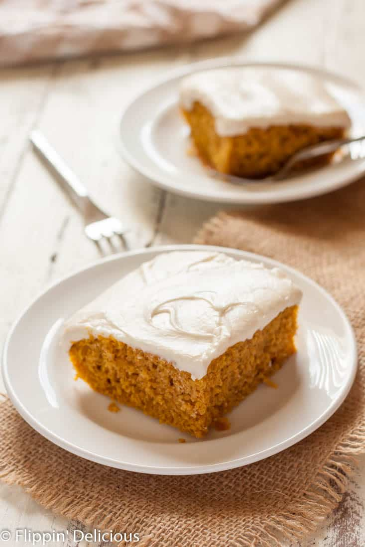 Moist Gluten Free Pumpkin Cake with cream cheese frosting is the ultimate easy fall dessert! Dairy free option.