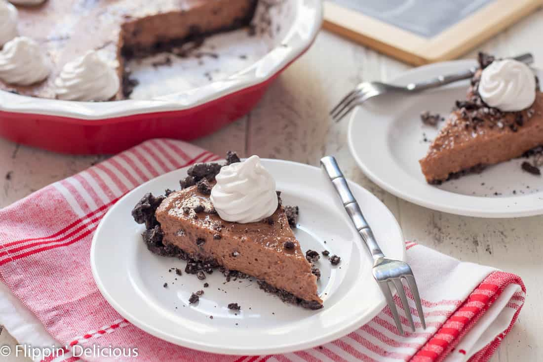 This Gluten Free Vegan Chocolate Pie is no bake and free of the top 8 allergens. Finally a dairy free dream whip pie that my family can enjoy!