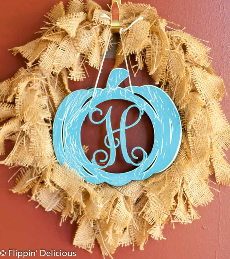 Teal Pumpkin Project Monogrammed Wreath