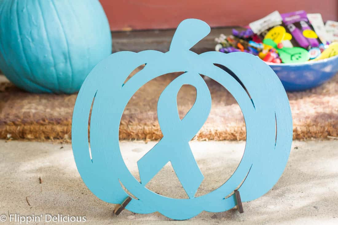 Teal Pumpkin Project Pumpkin Cutout with Allergy Awareness Ribbon