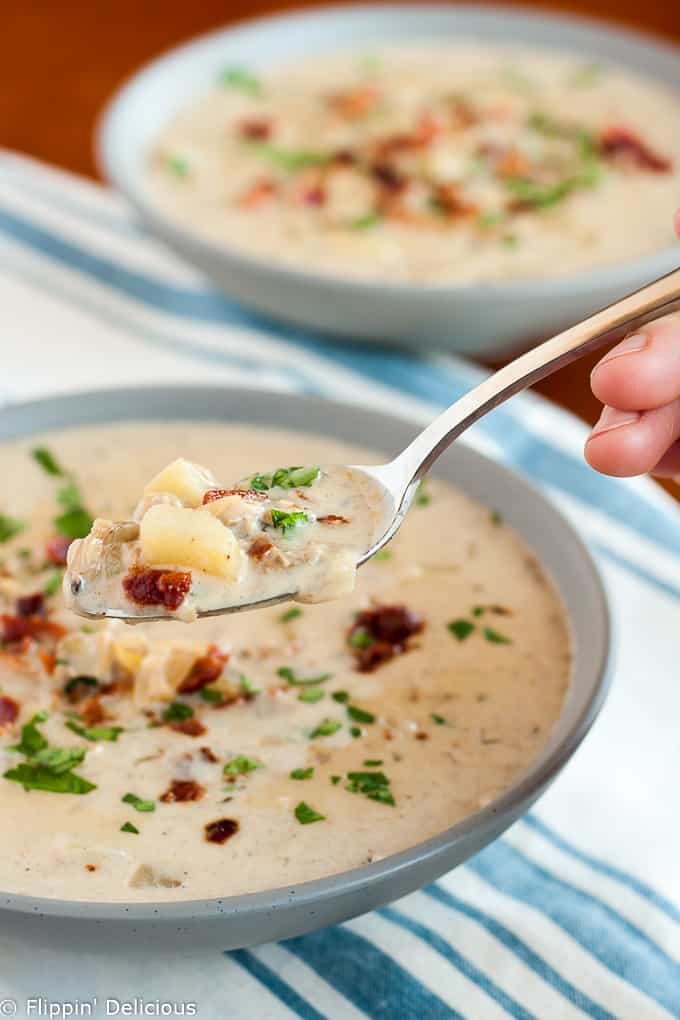Gluten free clam chowder is the perfect one pot meal for a chilly evening! It's creamy and rich, and just SO good.