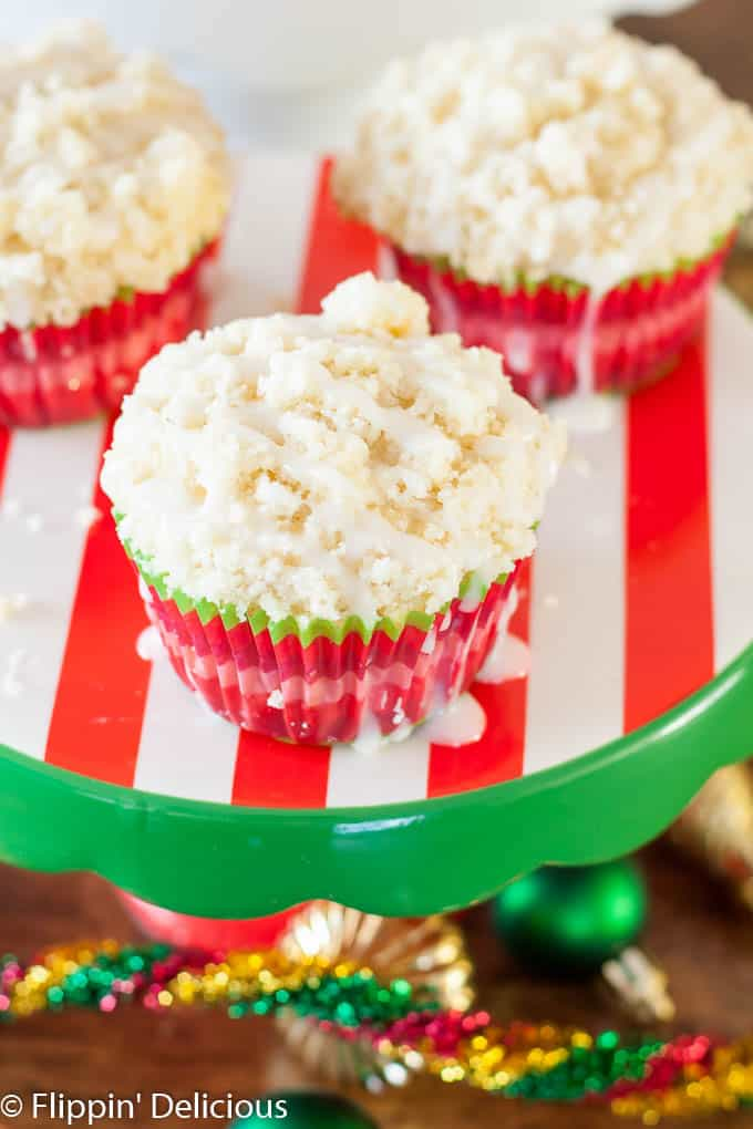 Gluten Free Eggnog Muffins. This Gluten Free Holiday Brunch has everything you need, including gluten free eggnog muffins with crumb topping, breakfast casserole cups, grapefruit mimosas, and a hot chocolate bar.
