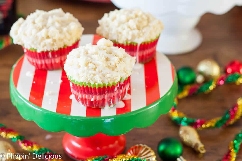 Gluten Free Eggnog Muffins This Gluten Free Holiday Brunch has everything you need, including gluten free eggnog muffins with crumb topping, breakfast casserole cups, grapefruit mimosas, and a hot chocolate bar.