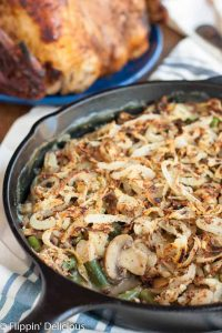 This gluten free vegan green bean casserole takes the classic comforting side and makes it accessible to nearly everyone! The homemade crispy onions make it really special.