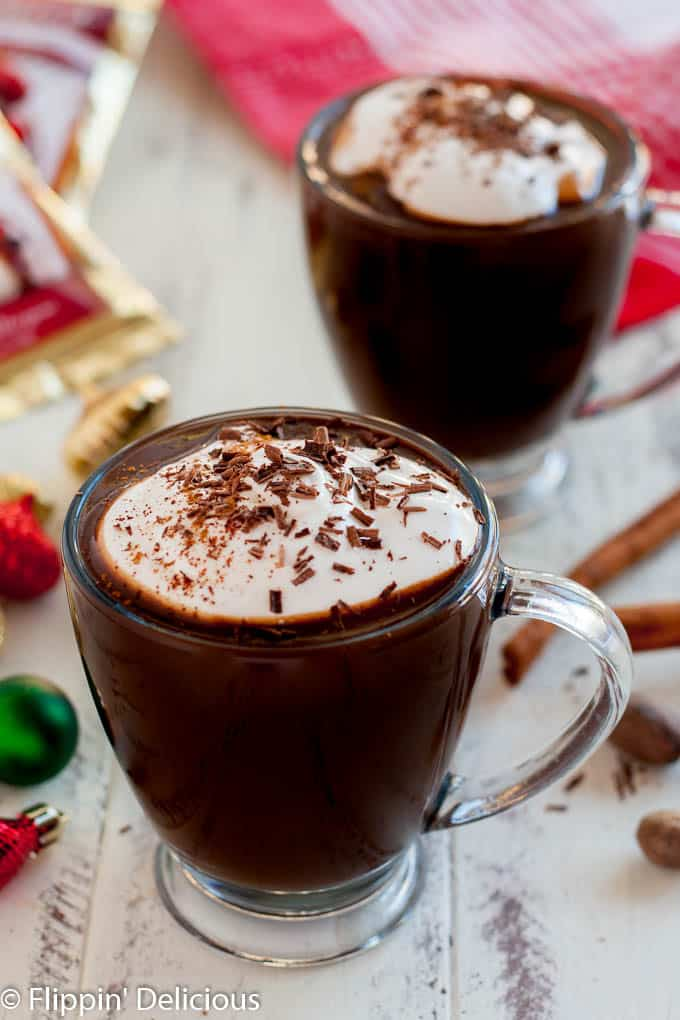 Indulgent Vegan Mexican Hot Chocolate, sweet and spicy hot chocolate topped with vegan whipped topping!