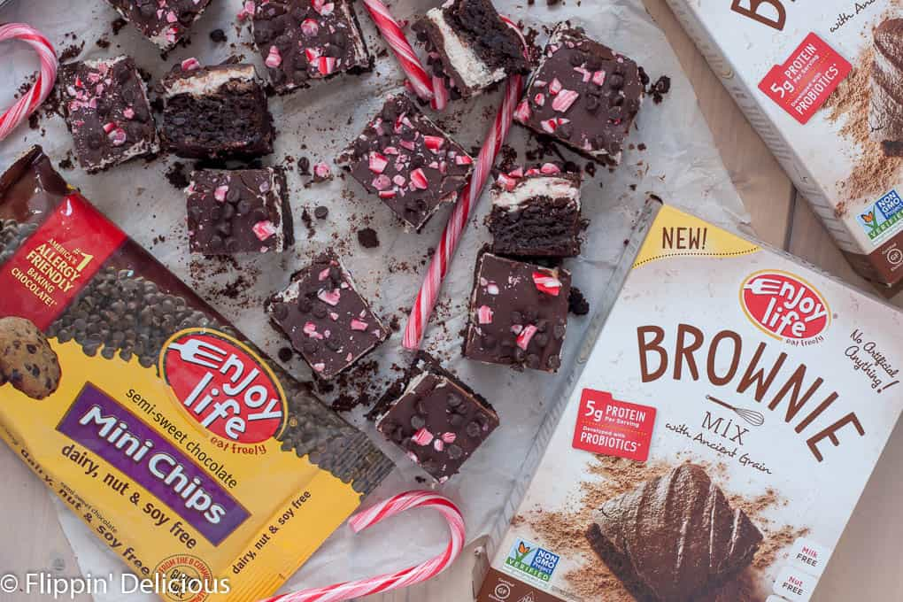 Gluten free candy cane brownies are also dairy free, egg free, and vegan. The perfect festive treat that everyone can enjoy!