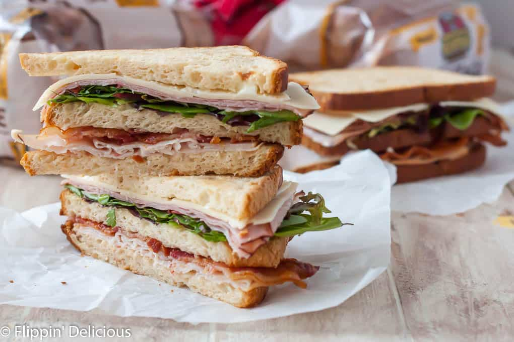 This BIG gluten free club sandwich will definitely satisfy your stomach. With three layers, it makes an epic lunch.