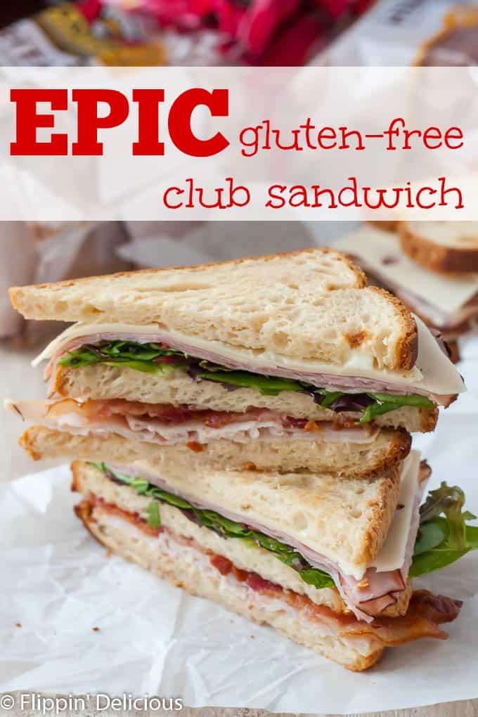 BIG gluten free club sandwich has 3 slices of gluten free bread, turkey, ham, bacon, swiss cheese, and plenty of greens. #glutenfreerecipes #glutenfree