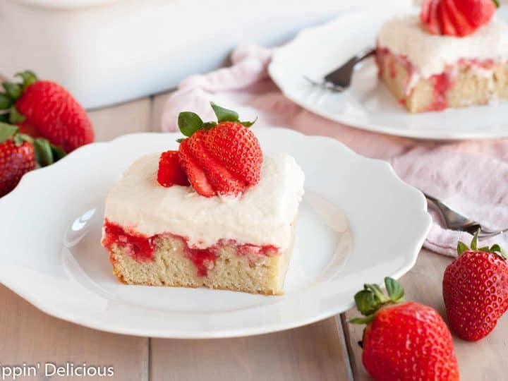 Gluten Free Strawberries and Cream Poke Cake (dairy free, vegan opt)
