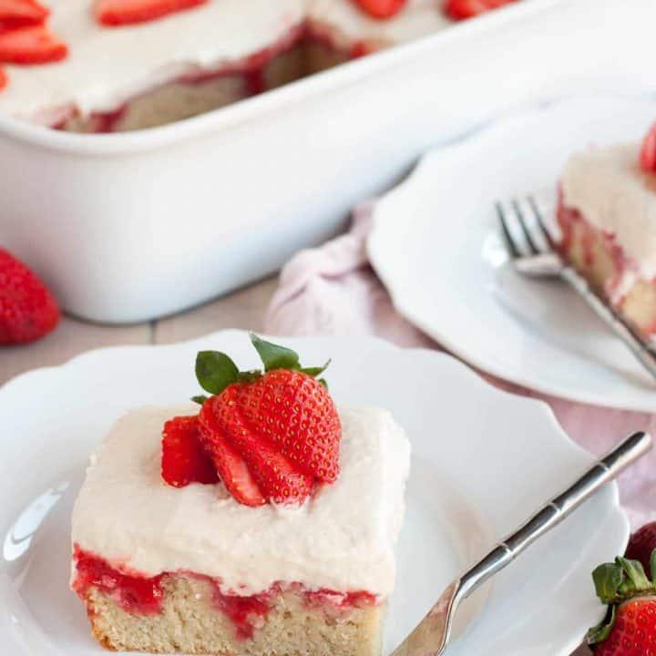 Dairy Free Gluten Free Strawberries and Cream Poke Cake makes an easy crowd-pleasing dessert.