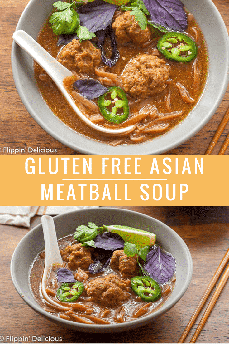 Gluten Free Asian Meatball Soup is inspired by one of my favorites, Pho! This flavorful bone-broth-based soup can easily be made in an Instant Pot, or on the stovetop.