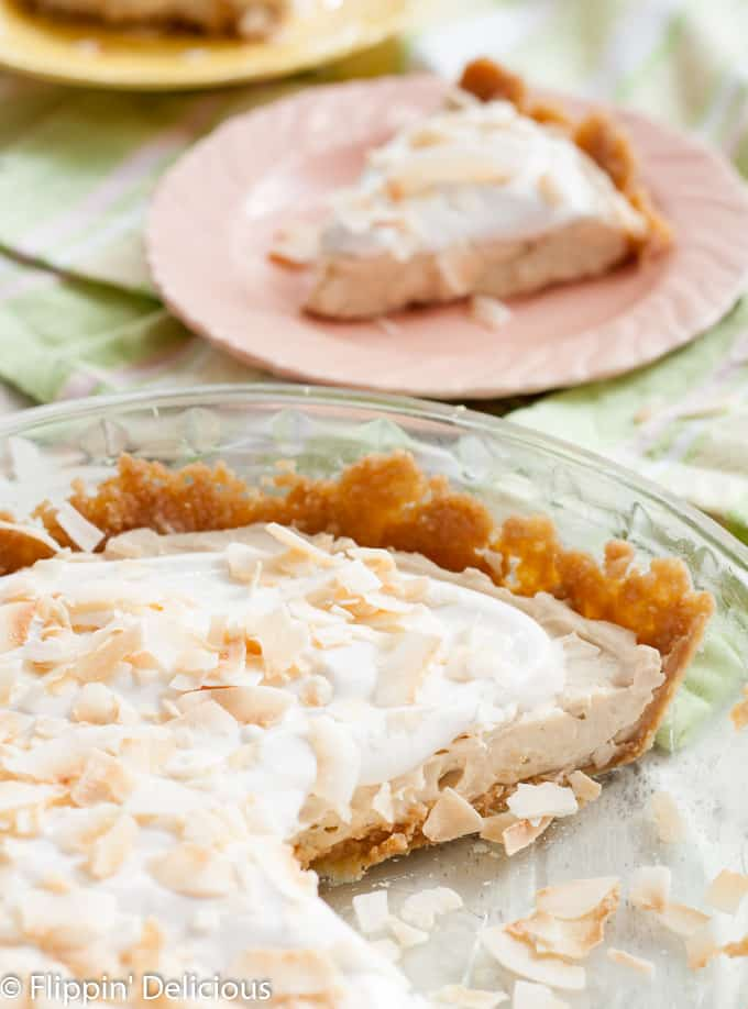 Gluten Free Dairy Free Coconut Cream Pie, so creamy you'll swoon and loaded with toasted coconut.
