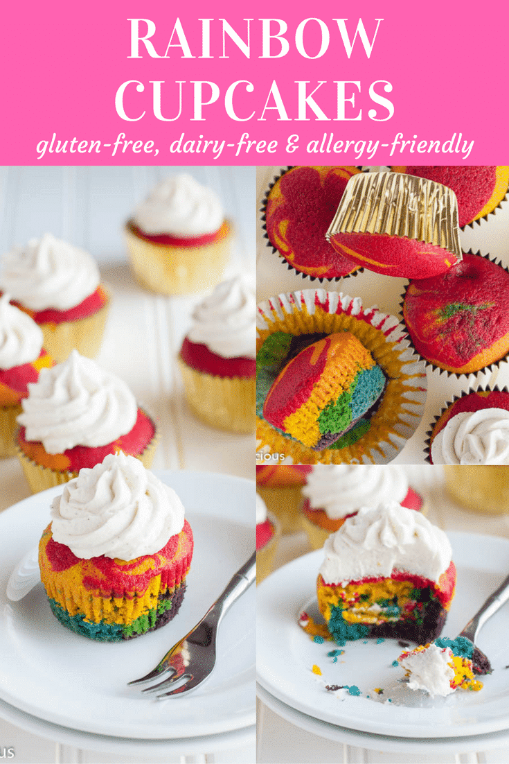 Gluten-Free Rainbow Cupcakes with vanilla frosting will make everyone swoon!