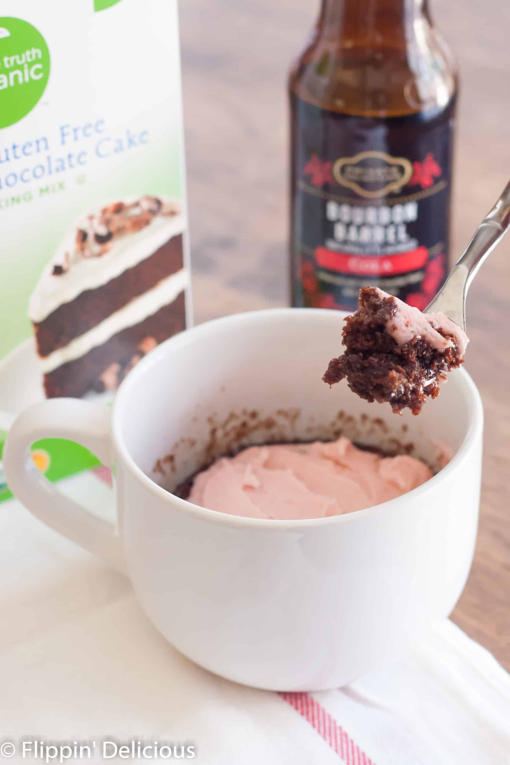 Making a gluten free chocolate mug cake has never been easier! Just 2 ingredients and less than 5 minutes.