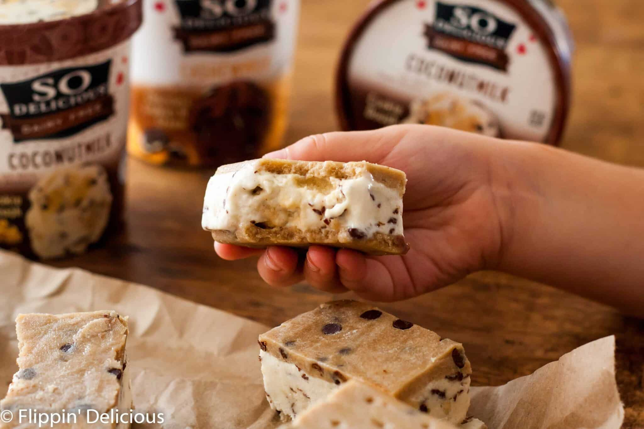 Gluten-free cookie dough ice cream sandwiches will make any cookie-dough-fan swoon. They are dairy-free and vegan, so the whole family can enjoy them.