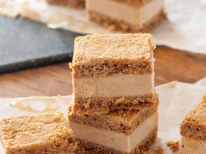 Vegan Snickerdoodle Blondie Ice Cream Sandwiches