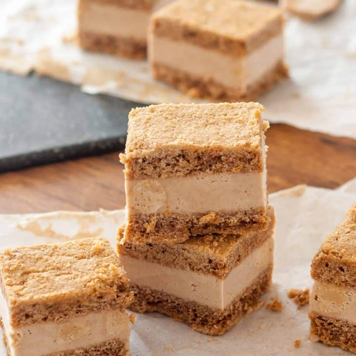 Vegan Snickerdoodle Blondie Ice Cream Sandwiches are a sweet way to beat the heat. Creamy vegan snickerdoodle ice cream sandwiched between sweet cinnamon blondies.