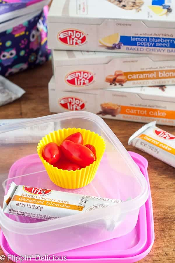 "Enjoy Life Foods Chewy Bars and ""baby 'matoes"" are some of our favorite lunch box additions."