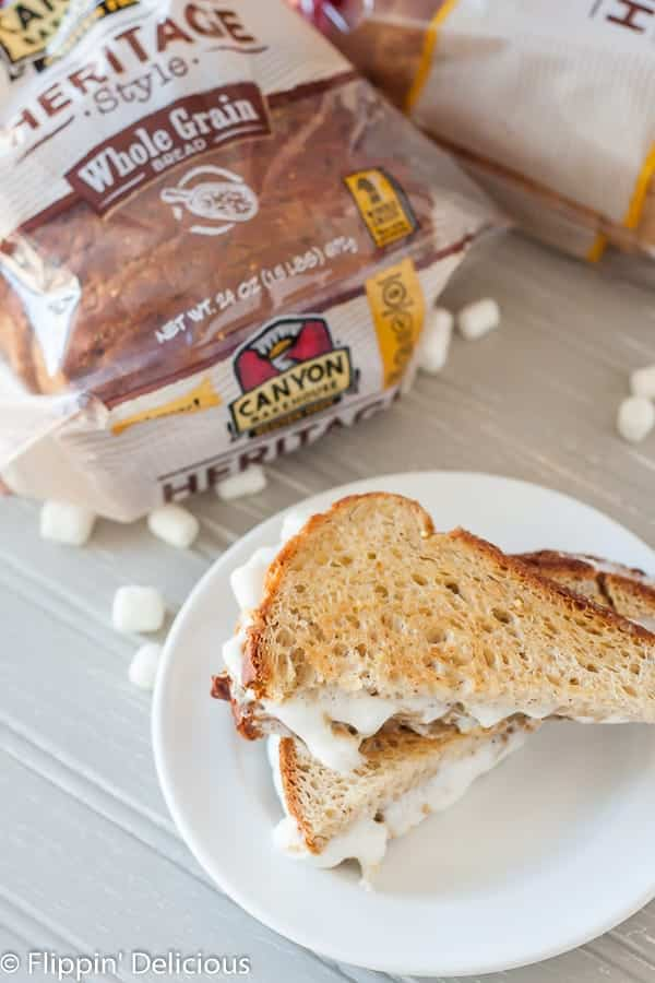 Grilled Gluten Free Fluffernutter Sandwich, it is gooey, peanut-buttery, and marshmallowy. Made peanut-free and dairy-free, too!