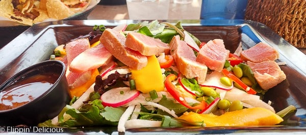 Gluten Free Seared Ahi Tuna Salad with mango at the Plaza Grill at Tamaya
