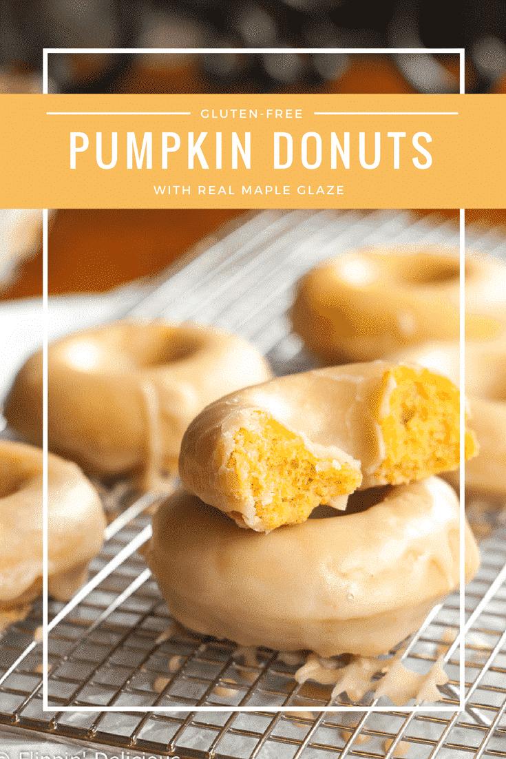 Tender gluten-free pumpkin donuts with maple glaze make the perfect allergy-friendly fall treat!n #glutenfree #glutenfreerecipe