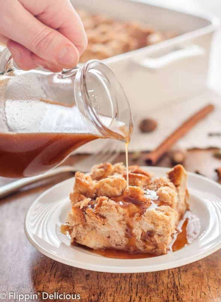 Gluten-Free Chai French Toast Casserole is easily made ahead and baked just before you are ready to enjoy it. The honey-butter sauce drizzled on top adds the perfect touch of sweetness. flippindelicious.com #glutenfreebreakfast #glutenfree