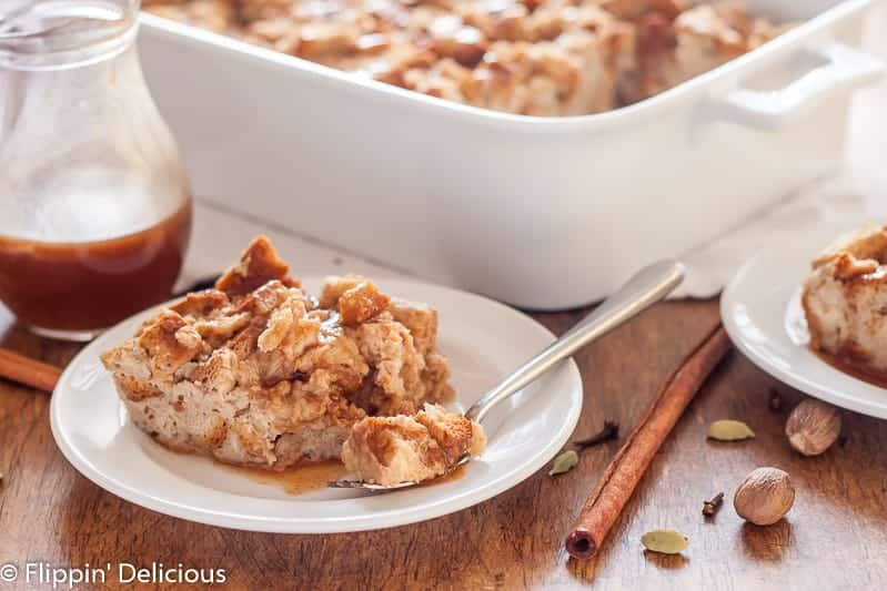 Gluten-Free Chai French Toast Casserole is easily made ahead and baked just before you are ready to enjoy it. The honey-butter sauce drizzled on top adds the perfect touch of sweetness.