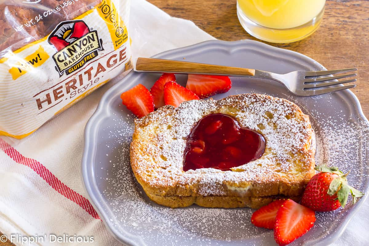 Gluten Free Stuffed French Toast with Nutella and Cherry Jam for Valentine's Day
