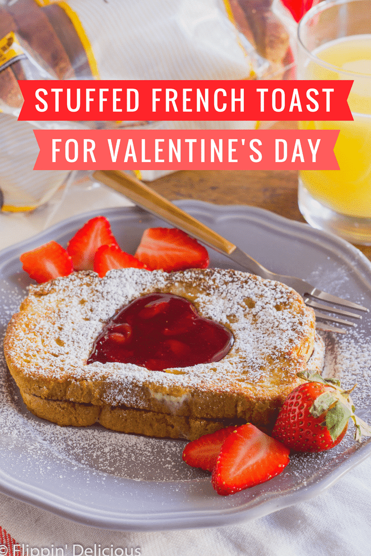 Share Gluten-Free Nutella Stuffed French Toast with a cherry jam heart with your sweetheart for Valentine's Day.